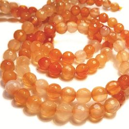 Carnelian Faceted Rounds Beads, 6mm