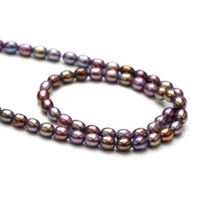 Purple Rice Pearls, 5x4mm