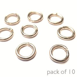 Plated 5mm Round Jump Rings, Pack of 10