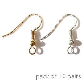 Plated Shepherds Crook Earwires, Pack of 10 Pairs