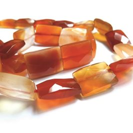 Carnelian Faceted Rectangle Beads, 14x10mm