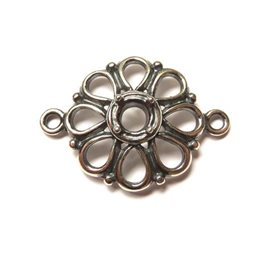 Sterling Silver Flower Connector Link for One 5mm Faceted Stone