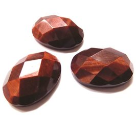 Red Tigereye Oval Faceted Top Cabochon 14x10mm