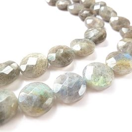 Labradorite Faceted Disc Beads 14mm