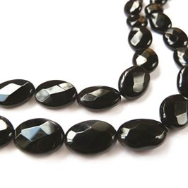 Black Agate Faceted Oval Beads 10x14mm