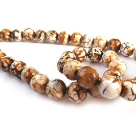 Rocky Road Agate Faceted Round Beads, 10mm