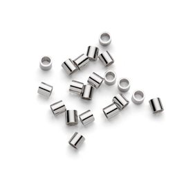Sterling Silver 2x2mm Crimps, Pack of Ten Pairs