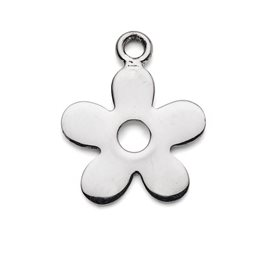 Sterling Silver Large Flat Flower Charm