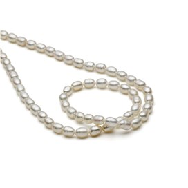 White Freshwater Pearls, 4-5.5mm Rice Shape