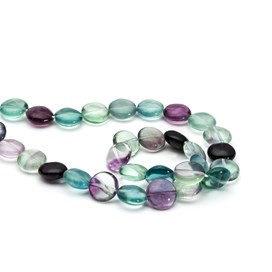 Rainbow Fluorite Coin Beads, 12mm