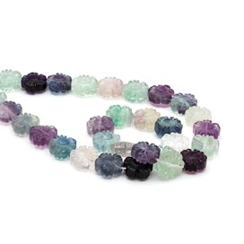 Rainbow Fluorite Flower Beads Approx 12mm