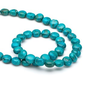 Chinese Turquoise Coin Beads, 8mm