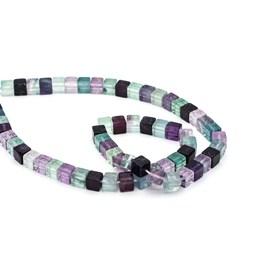 Rainbow Fluorite Cube Beads, 6mm