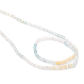 Multi Coloured Aquamarine Faceted Rondelle Beads, 3x2mm