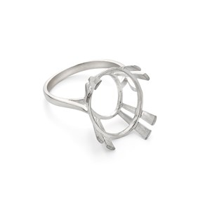 Sterling Silver Ring for 18x13mm Faceted Stone