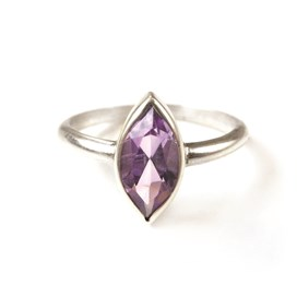 Sterling Silver Ring Set with a 10x5mm Marquise Amethyst Faceted Stone