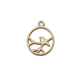 14ct Gold Vermeil Oval Nightingale Bird Pendant Charms