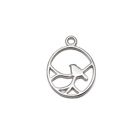 Sterling Silver Oval Nightingale Bird Pendant Charms