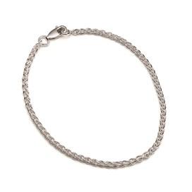 Sterling Silver Spiga Charm Bead Chain, 19cm Bracelet