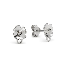 Sterling Silver Poppy Earstuds (Pair)