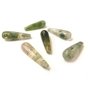 Green Moss Top Drilled Gemstone Bead, 20x6mm