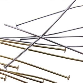 Plated 38mm Headpins, Pack of Fifty