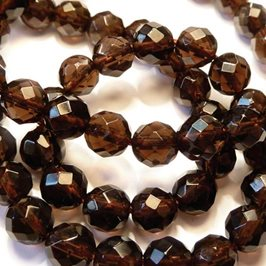 Smoky Quartz Faceted Round Beads, 6mm