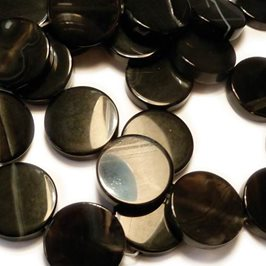 Black Agate Flat Coin Beads, 19x5mm
