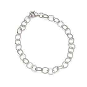 Sterling Silver Large Link Flat Trace Chain, 19cm Bracelet
