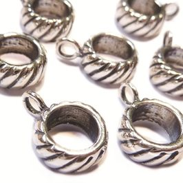 Sterling Silver Stripey Charm Bead Bail