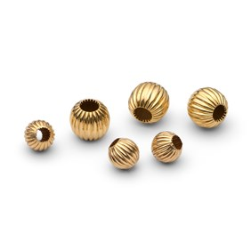 9ct Gold Corrugated Round Beads