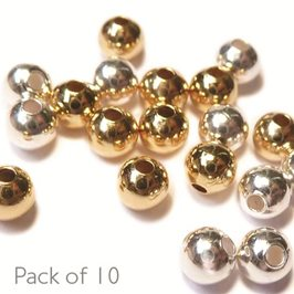 3mm Plain Round Plated Metal Beads, Pack of 10