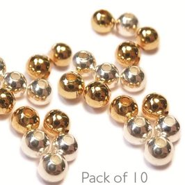 2.5mm Plain Round Plated Metal Beads, Pack of 10