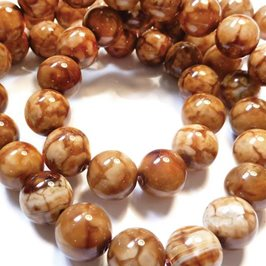 Brown 'Fire' Agate Round Beads, 10mm