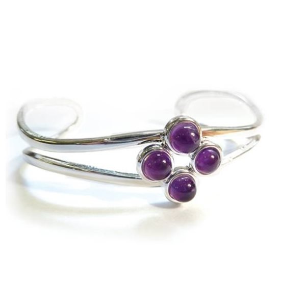 Silver Plated Bangle Setting for 5mm Round Cabochons