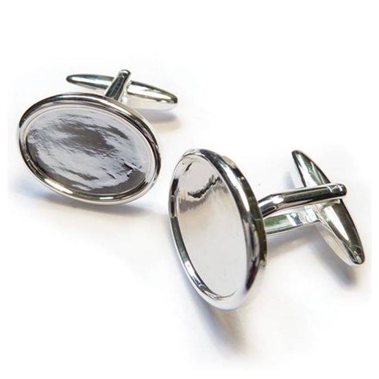 Silver Plated Cufflink Settings for 18x13mm Cabochons