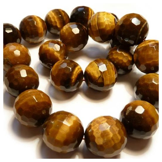 Tigereye Faceted Round Beads, 18mm