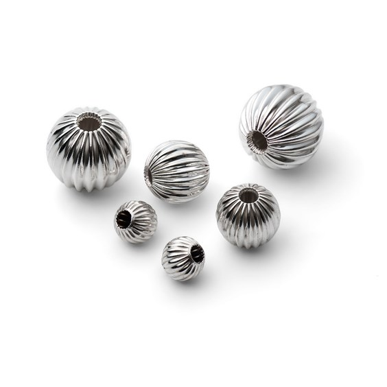 Sterling Silver Corrugated Round Beads