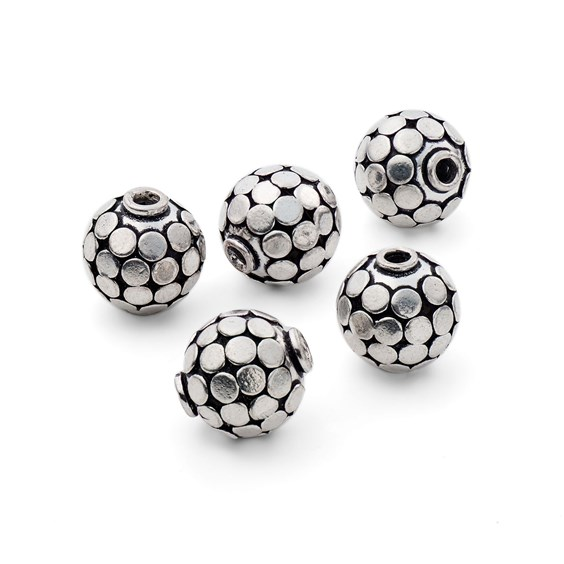 Silver Plated Disco Ball Beads, 15mm