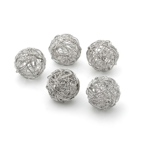 Silver Plated Round Tumbleweed Wire Beads, approx. 20mm