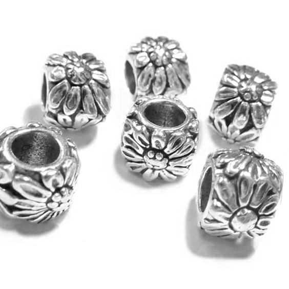 Sterling Silver Daisy Charm Beads