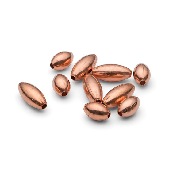 Plain Oval Copper Beads, Pack of 10